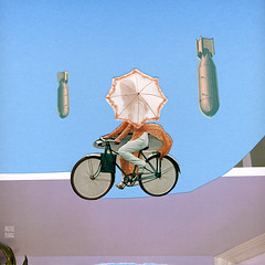 quieter than bombs (argyle plaids) Tags: abstract art bike bicycle collage umbrella artwork ride handmade contemporary surrealism surreal riding parasol biking bomb jamesshort handdone handcut concealment bupbup argyleplaids jimmybupbup