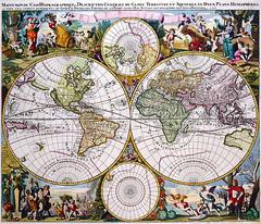 Antique Maps (divinumphoto) Tags: map antiquemapsoftheworld doubehemispherepolarmap gerardvalk c1686