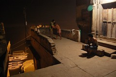 Duel by a Benares ghat (camera indica) Tags: india man film sport movie alley wrestling bodybuilding varanasi baba benares ghat grappling kushti satyajitray