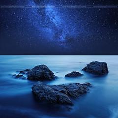 The gates of heaven ( David.Keochkerian ) Tags: sea sky seascape night way landscape star brittany bretagne milky milkyway belleileenmer
