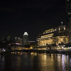 the fullerton (cactusbeetroot) Tags: architecture night buildings lights singaporeriver thefullertonhotel