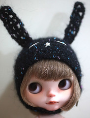 More Crazy Bunny Helmet, adjustable ears (* MeiMei *OPENs Commission List) Tags: black bunny wool crazy handmade embroidery helmet ears blythe meimei adjustable
