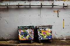 Graffitied Bins (preynolds) Tags: streetart london graffiti streetphotography waterloostation thetunnel tamron1750mm leakestreet canon600d