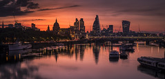 London Dawn (scott.hammond34) Tags: city bridge red summer sky cloud reflection london water skyline sunrise boats cityscape outdoor stpaulscathedral riverthames waterloobridge