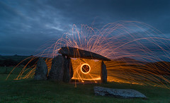 Timeless (dolbinator1000) Tags: pentre ifan pembrokeshire wales uk night dusk blue golden hour twilight dark long exposure steel wool light trail trails sky cloud clouds cloudy grass rock rocks rocky tablet tablets stone burial ancient history historical man boy circle circles false flames spark sparks heat fire landscape pano panorama land scape