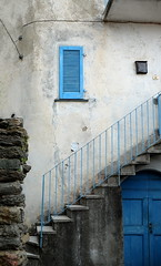 Blue window- Blue door (fabiankoppers) Tags: stone wall stair steps door concrete window shutter plaster mortar texture house village italy cottage bright color old gray blue bricks stonewall travel como lagodi architecture staircase sharp detail outdoor