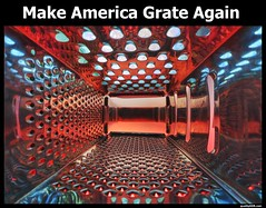 Make America Grate Again! (PeterThoeny) Tags: grate unitedstates politics satire makeamericagreatagain nex6 selp1650 1xp raw hdr photomatix lights abstract colors red blue qualityhdr qualityhdrphotography usa america fav100