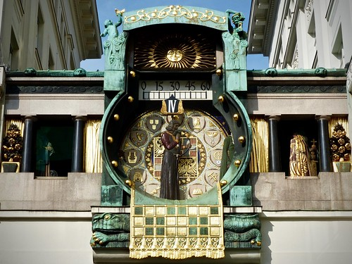 The transience of life. The Anker Clock (Ankeruhr) in Vienna Austria