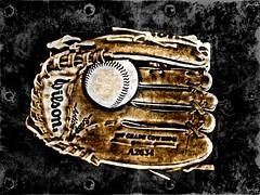 baseball & mitt (Jackal1) Tags: baseball ball mitt glove leather words text texture sport stilllife wilson game