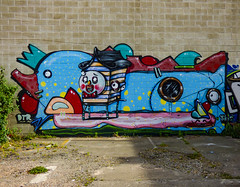 The Submersible (Steve Taylor (Photography)) Tags: dtr jacob yikes porthole ladder staple submarine eye clown roof bowtie mural streetart wall colourful vivid fun weird crazy mad odd strange newzealand nz southisland canterbury christchurch cbd city face