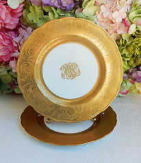 Antique George Jones Porcelain Plates Crescent England Gold Encrusted (Donna's Collectables) Tags: antique george jones porcelain plates crescent england gold encrusted