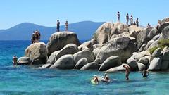 sand harbor state park, lake tahoe, nv (hannu & hannele) Tags: statepark park blue lake water harbor sand rocks state nevada tahoe swimmers