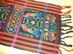 TZUTE (RubyGoes) Tags: pink flowers blue orange black birds yellow hand guatemala stripes shawl woven tassels quetzals