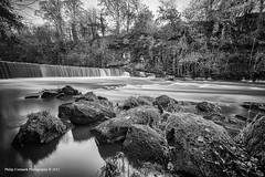 River Amond Waterfall (Light Over Scotland) Tags: white motion black blur river mono scotland waterfall edinburgh britain united great almond fast kingdom cramond
