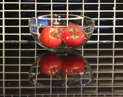 Tomatoes (peggyhr) Tags: blue red white canada black green glass reflections tomatoes bowl tiles stems granite finegold thegalaxy 25faves amomentarylapseofreason peggyhr myfriendspictures 100commentgroup flickraward postthebest mygearandme reflexoreflection blinkagain 2heartsaward photohobbylevel1 photohobbylevel2 photohobbylevel3 redgroupno1 artforkitchendiningroomwall thelooklevel1red img4184ab