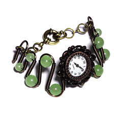 Steampunk Victorian Jewelry - Copper - Working watch bracelet -Green Chrysoprase (Catherinette Rings Steampunk) Tags: green wire watch jewelry jewellery bracelet etsy deviantart steampunk chrysoprase