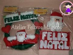 Prontinhas, para irem embora hihi (Atelier Feltros Mágicos) Tags: natal guirlanda feliznatal feltro papainoel molde atelier tecido enfeite