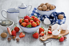 Baking with strawberries and nuts (The Little Squirrel) Tags: food photography baking strawberry nuts ingredients eggs foodphotography nikond700