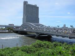 Shirahige Bridge (Sublight Monster) Tags: bridge history sign japan ferry river japanese tokyo crossing kanji marker   sumida hiragana katakana arakawa  minamisenju   shirahige