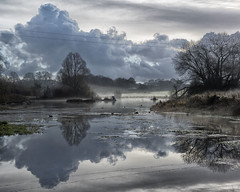 Crofton (lovestruck.) Tags: county uk blue trees winter light england sky cold reflection water misty clouds rural grey countryside afternoon sony foggy reservoir fields nik wiltshire 2012 crofton pumpingstation kennetavoncanal greatphotographers rx100 challengeyouwinner wiltshre niksofware wiltonwater colorefexpro4