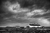 Storm clouds over St Aldhelm's (TDR Photographic) Tags: uk autumn light england blackandwhite bw storm clouds canon landscape mono evening coast grain dorset contrejour possibles jurassiccoast eos5d dorsetcoastpath staldhelmshead coastguardcottages