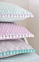 Pom pom trim cushions (toriejayne) Tags: print grey diy aqua pattern handmade sewing lavender sew lilac pompoms cushions sewingtutorial toriejayne freesewingtutorials