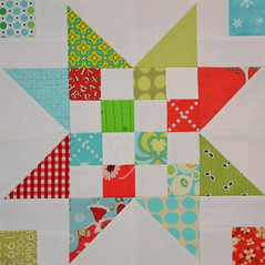 Block for Barb 2 (jenjohnston) Tags: blue red green start scrap quiltblock quiltingbee