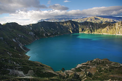 Laguna Quilotoa at twilight (Jessie Reeder) Tags: travel mountains southamerica water landscape evening ecuador twilight teal turqouise paisaje andes craterlake montaas sudamrica amricadelsur lagunaquilotoa