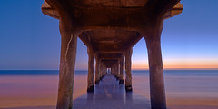 Under II  [EXPLORE] (MagnusL3D) Tags: ocean california longexposure blue sunset sea sky usa seascape tourism beach water zeiss america concrete pier losangeles sand nikon view under cement perspective explore socal lee manhattanbeach pillars depth waterscape explored leefilters distagont2821 zeisscontest2012 d800e