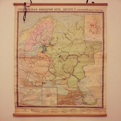 Now hanging in the shipping department of the Letter Writers Alliance. (donovanbeeson) Tags: wallmap russianmap vintagemap cyrillicmap