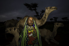 portrait of a woman the tribe Borana with a herd of camels (anthony pappone photography) Tags: africa travel portrait sky people woman colors girl beautiful face animal digital scarf canon pose photography photo eyes colorful colours foto faces image expression retrato african picture culture wear camel portraiture afrika omovalley nomad cloth fotografia ethiopia tribe ritratto necklaces reportage photograher afrique omo phototravel etiopia etnic coverings  etnico ethiopie etiope etnia  etnica etnologia oromo afryka nomadi gabbra etiopija borana yabelo scarfhead  dromedari etiopien etipia africantribe  boranatribe  boranagirl
