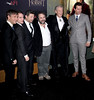 (L-R) Actors Martin Freeman, Elijah Wood, Andy Serkis, director Peter Jackson and actors Sir Ian McKellen and Richard Armitage, Premiere of 'The Hobbit: Unexpected Journey' New York City