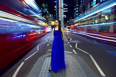 Girl on Bishopsgate (Anatoleya) Tags: street city blue 3 bus london buses girl station st night liverpool canon prime evening long exposure dress traffic mark f14 iii le l 5d 24mm hdr bishopsgate f14l 5d3 anatoleya
