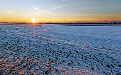 The Setting Winter Sun (hpd-fotografy) Tags: blue winter light sunset sky panorama favorite orange sun white snow cold color art ice field rural landscape golden countryside nikon flickr outdoor best master elite recreation relaxation ultrawide d800 excellence masterclass