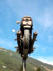 From Behind Motorbike (saxonfenken) Tags: austria zug bluesky superhero 171 pedastal gamewinner a3b herowinner pregamewinner day12riva motorbikeold 171trans