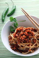 Simply Zen Taiwan Chili Noodles (dougschneiderphoto) Tags: food green studio pepper photography vegan chili dish sauce bowl chopsticks noodles cilantro taiwanese simplyzen