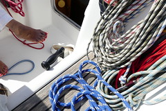 Boating (stbaillon) Tags: lifestyle seascape summer holiday yachting feet race boating outdoor nautical leisure winch deck ropes sails ocean sailingboat sea