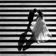 The Shadow of a Kiss (CVerwaal) Tags: bethesdaterrace blackandwhite centralpark stairs weddings newyork ny usa shadows sonyrx100iii