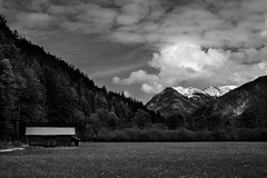 Mittenwald, Germany (patrickkuhl) Tags: mittenwald germany europe mountains forest trees landscape clouds fuji fujifilm 35mm blackwhite blackandwhite monochrome mountain bavaria bavarian alps