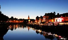 Amiens (Mariie76) Tags: paysage ville urbanisme eau fleuve reflet btiments glise restaurants coucher soleil ciel bleu lumires nuit amiens somme picardie