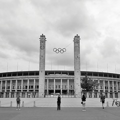 Olympia Stadion. ($t) Tags: instagramapp square squareformat iphoneography uploaded:by=instagram olympiastadion olimpiadi olympics berlin germany bnw bw architettura architecture