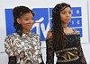 Chloe Bailey (L) and Halle Bailey arrive for the 2016 MTV Video Music Awards August 28, 2016 at Madison Square Garden in New York. / AFP / Angela Weiss (Photo credit should read ANGELA WEISS/AFP/Getty Images)