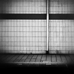 Quiet Subway Platform (Jon-F, themachine) Tags: jonfu 2016 olympus omd em5markii em5ii em5mkii em5mk2 em5mark2  mirrorless mirrorlesscamera microfourthirds micro43 m43 mft ft     snapseed japan  nihon nippon   japn  japo xapn asia  asian fareast orient oriental aichi   chubu chuubu   nagoya  quiet blackandwhite bw bnw monochrome monochromatic grayscale greyscale nocolor urban station stations trainstation  platform