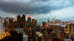 Dramatic Sky - Storm incoming (Joachim Wuhrer) Tags: joachimwuhrer hongkong northpoint nightphotography night cityscape victoriaharbour 52themes sony a6000 sel1650