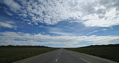 endless (on the road to hustai - mongolia) (bloodybee) Tags: mongolia asia travel landscape hill sky clouds road highway motorway freeway perspective vanishingpoint