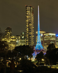 Two Towers (Valley Imagery) Tags: melbourne art city architecture night victoria imagery festival australia vertical panorama 50mm sony a77ii tower