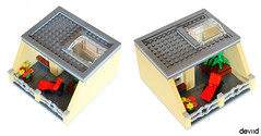 Devid's house top floor (Devid VII) Tags: devid vii details modular house lego moc diorama city tan home kingdom top first ground floor detail bed sofa kitchen room wc bedroom deckchair flowers cabinet modulars