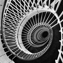The Windmills of Your Mind (mcb photography) Tags: stairs staircase spiral helix bw blackandwhite blackwhite mikebarber mcbphotography wwwmcbphotographycouk windmils windmills your mind pattern sequence curve