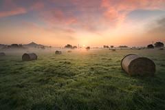 Avalon Sunrise (artursomerset) Tags: avalon sunrise glastonburytor somerset straw bales hay grass sun light england colours morning mist mystical