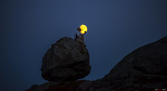 The man and the moon... (bent inge) Tags: moon norway rogaland gjesdal september 2016 bentingeask fjellhug